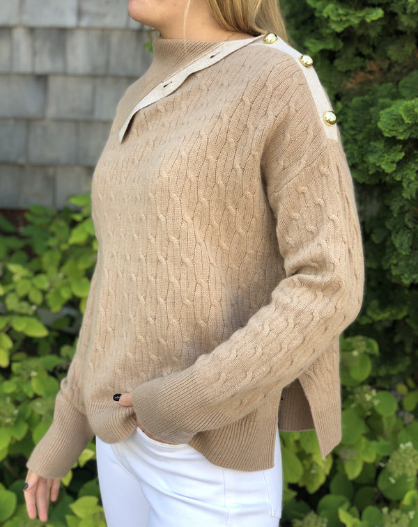 Cortland Park Cableknit Turtleneck w/ Gold Buttons