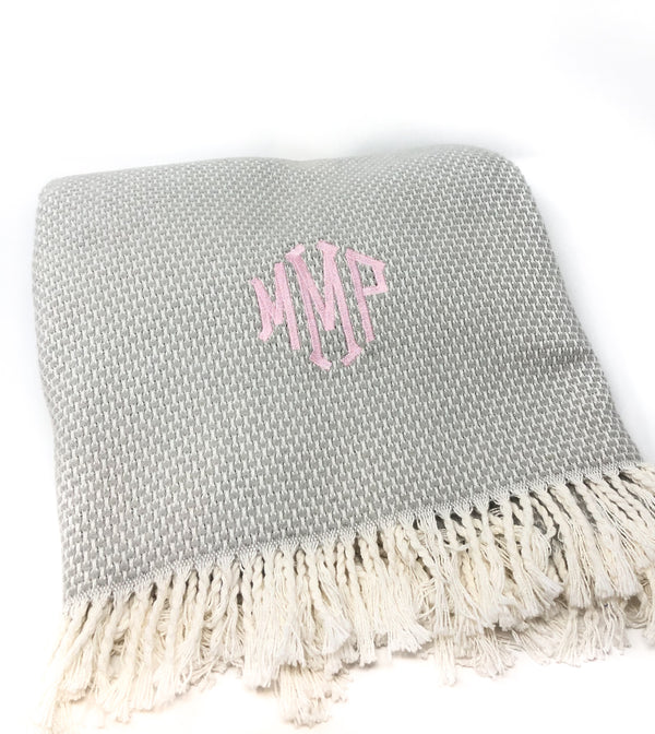 Grain of Rice Monogram Throw