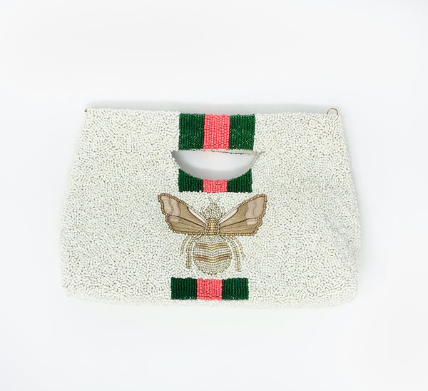 Moyna Bee Handle Tote - Ivory/Emerald/Red