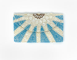 Moyna Mother of Pearl Clutch - Ivory/Ivory/Turquoise