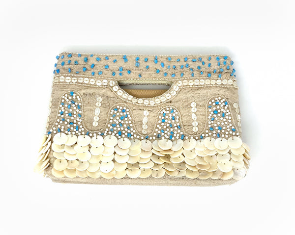 Moyna Mother of Pearl Handle Tote - Nat/Ivory/Turq