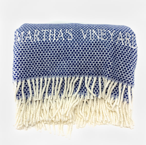 A Soft Idea Grain of Rice MARTHA'S VINEYARD Throw - Navy