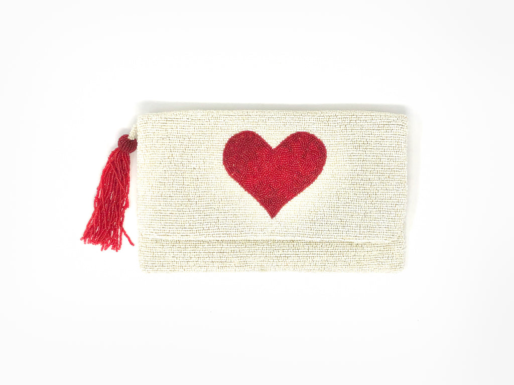 Moyna Heart Clutch - White/Red
