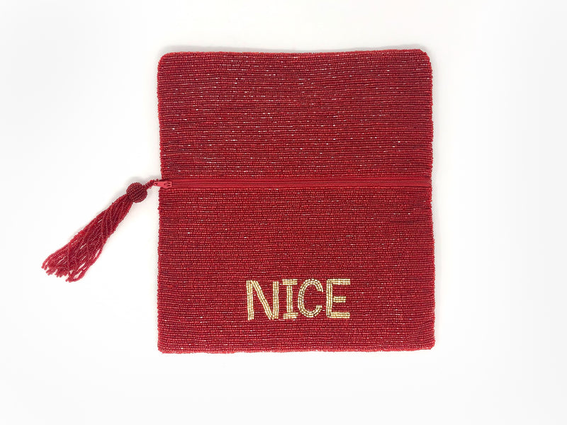 Moyna Naughty/Nice Clutch - Red/Gold