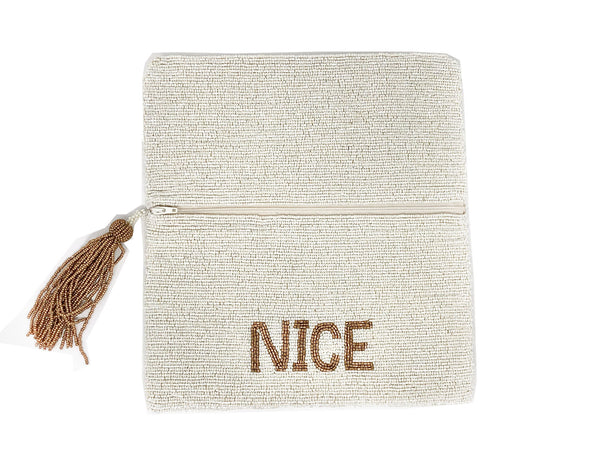 Moyna Naughty/Nice Clutch - White/Gold