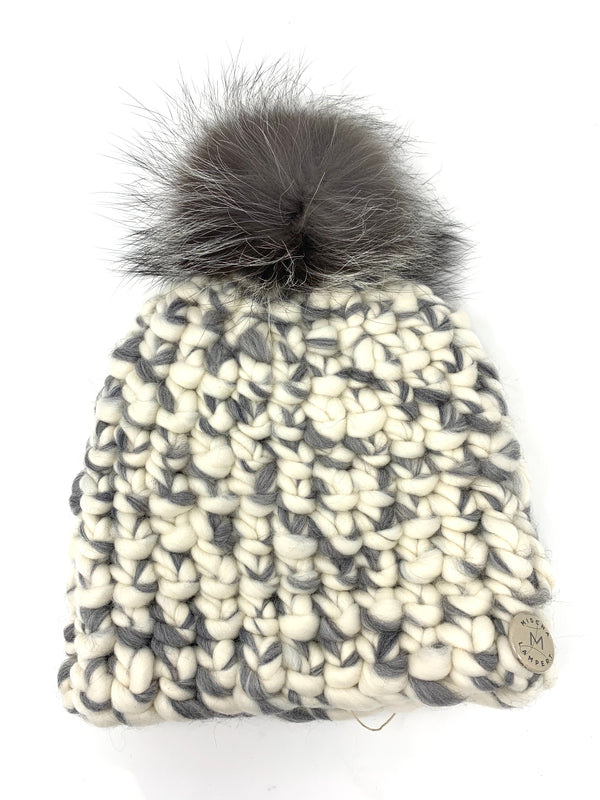 Mischa Lampert Beanie Pomster - White/Grey Mix