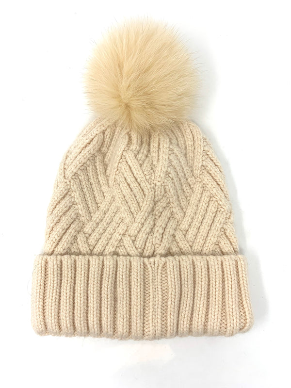 Mitchie's Ivory Knitted Hat with Fox Pom Pom HTYH02