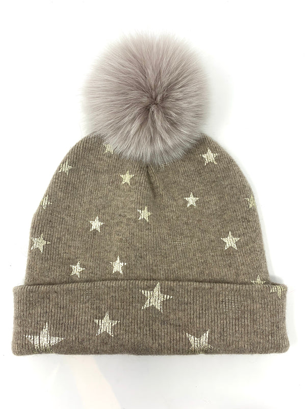 Mitchie's Beige Knitted Hat with Foil Stars and Fox Pom Pom HTOK02