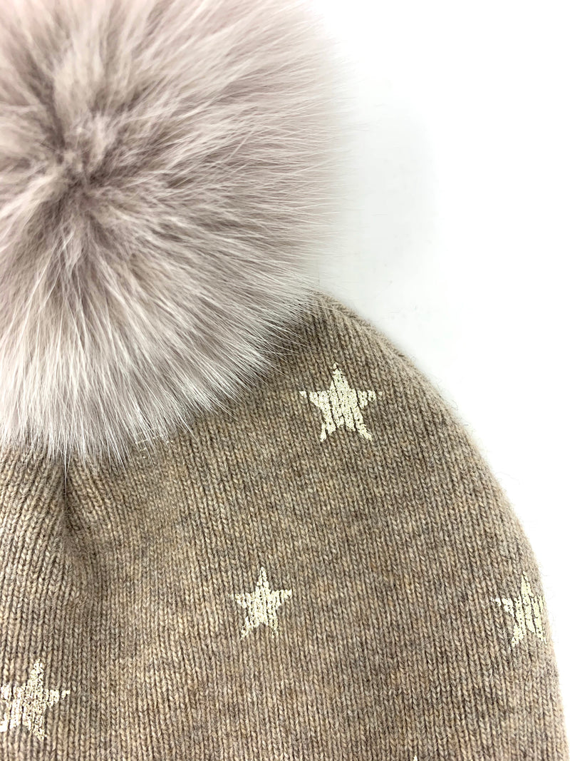 Mitchie's Beige Knitted Hat with Foil Stars and Fox Pom Pom