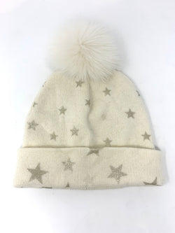 Mitchie's Ivory Knitted Hat with Foil Stars and Fox Pom Pom