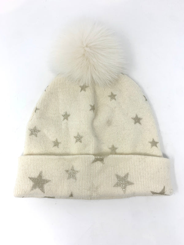 Mitchie's Ivory Knitted Hat with Foil Stars and Fox Pom Pom HTOK02