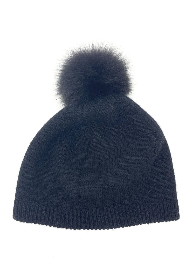 Mitchie's Black Reversible Knitted Beanie with Black Fox Pom