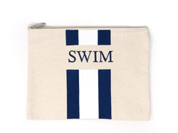 Canvas Pouch with Hand Painted SWIM