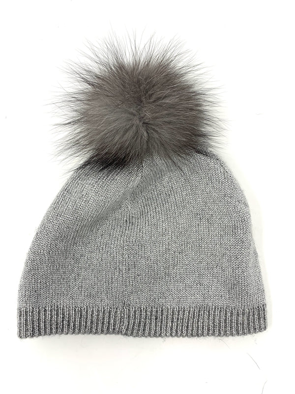 Mitchie's Silver Reversible Knitted Beanie with Indigo Fox Pom