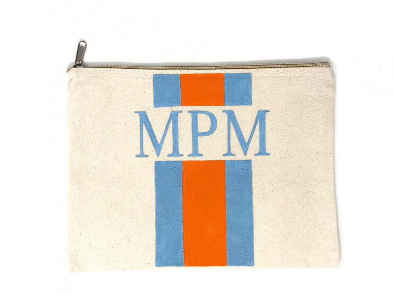 Canvas Pouch with Hand Painted Monogram