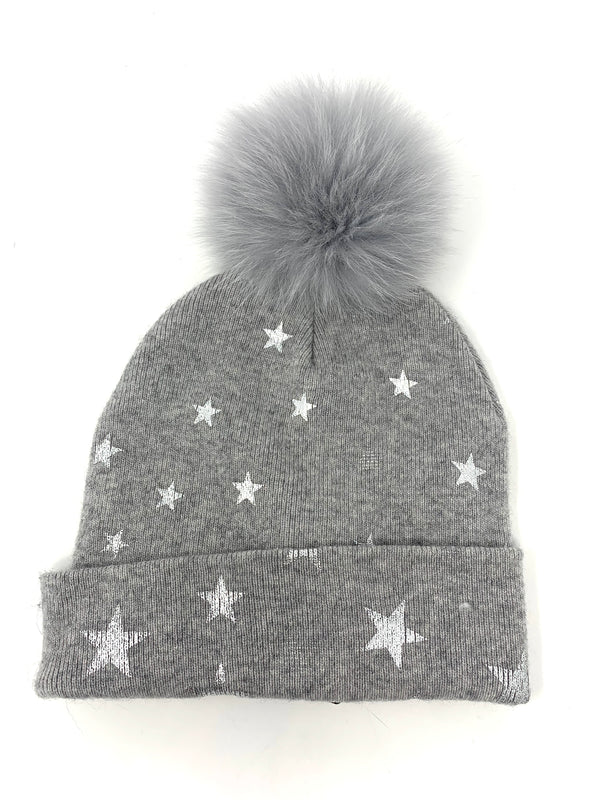 Mitchie's Grey Knitted Hat with Foil Stars and Fox Pom Pom HTOK02