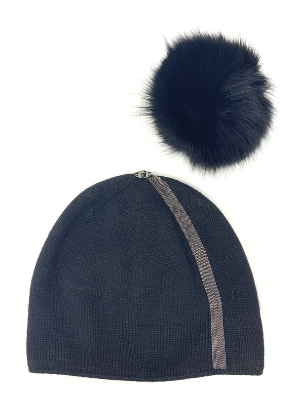 Mitchie's Black Stripe Metallic Knitted Hat with Fox Pom Pom HTAN26