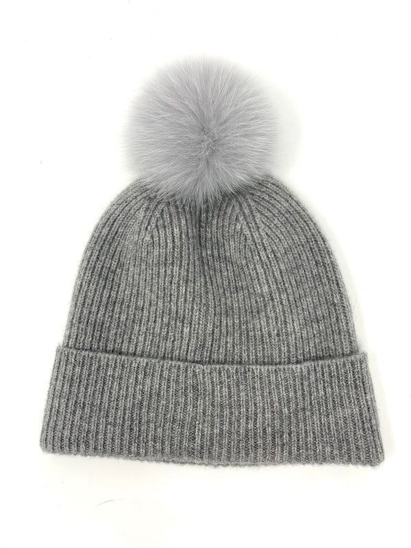 Mitchie's Grey F*cking Freezing Knitted Hat with Fox Pom Pom HTIM53