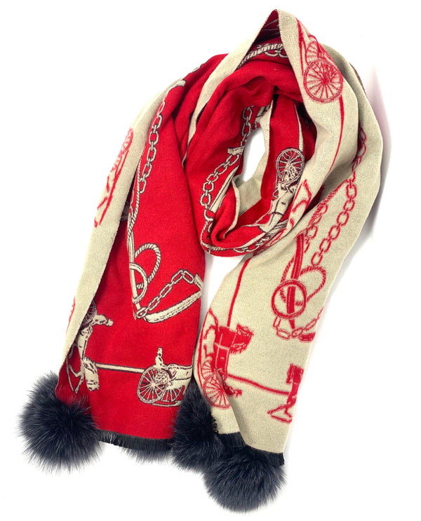 Mitchie's Red and Beige Equestrian Pattern Scarf with Charcoal Fox Poms