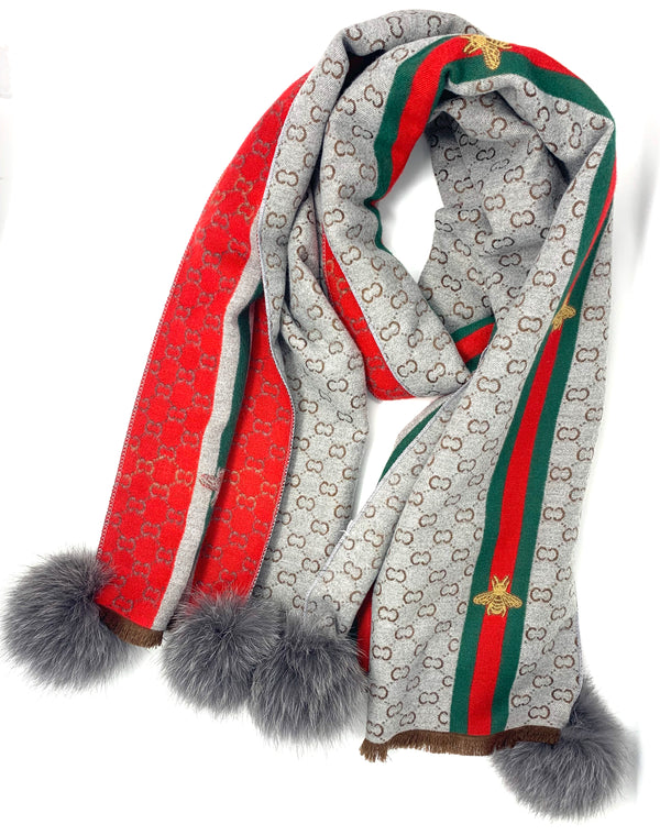 Mitchie's Grey Woven Scarf with New Bees and Fox Pom Pom SCCO88