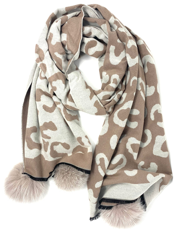 Mitchie's Taupe Animal Print Woven Scarf with Fox Pom Pom