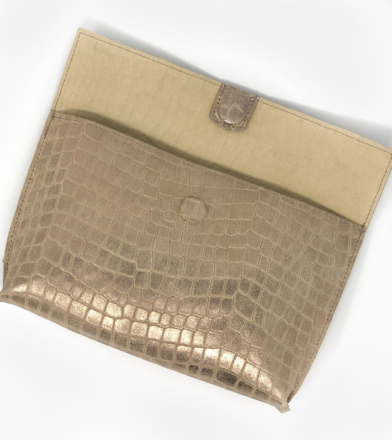 Bronze Faux Croc Fold-Over Clutch
