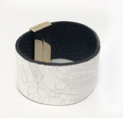 Wide Leather Cuff with Gold Buckle