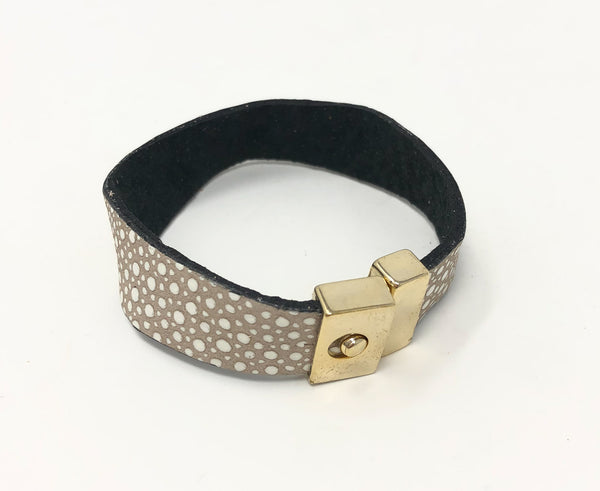 Thin Leather Cuff with Gold Buckle