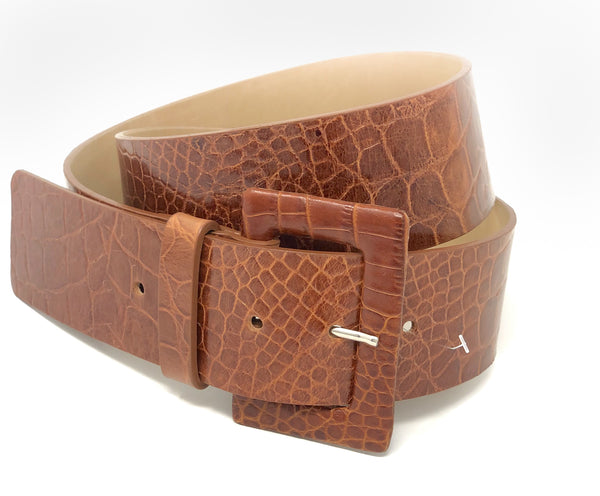 Croc Belt with Covered Buckle