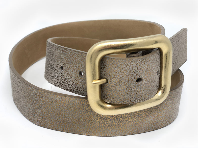 Leather Belt with Square Buckle