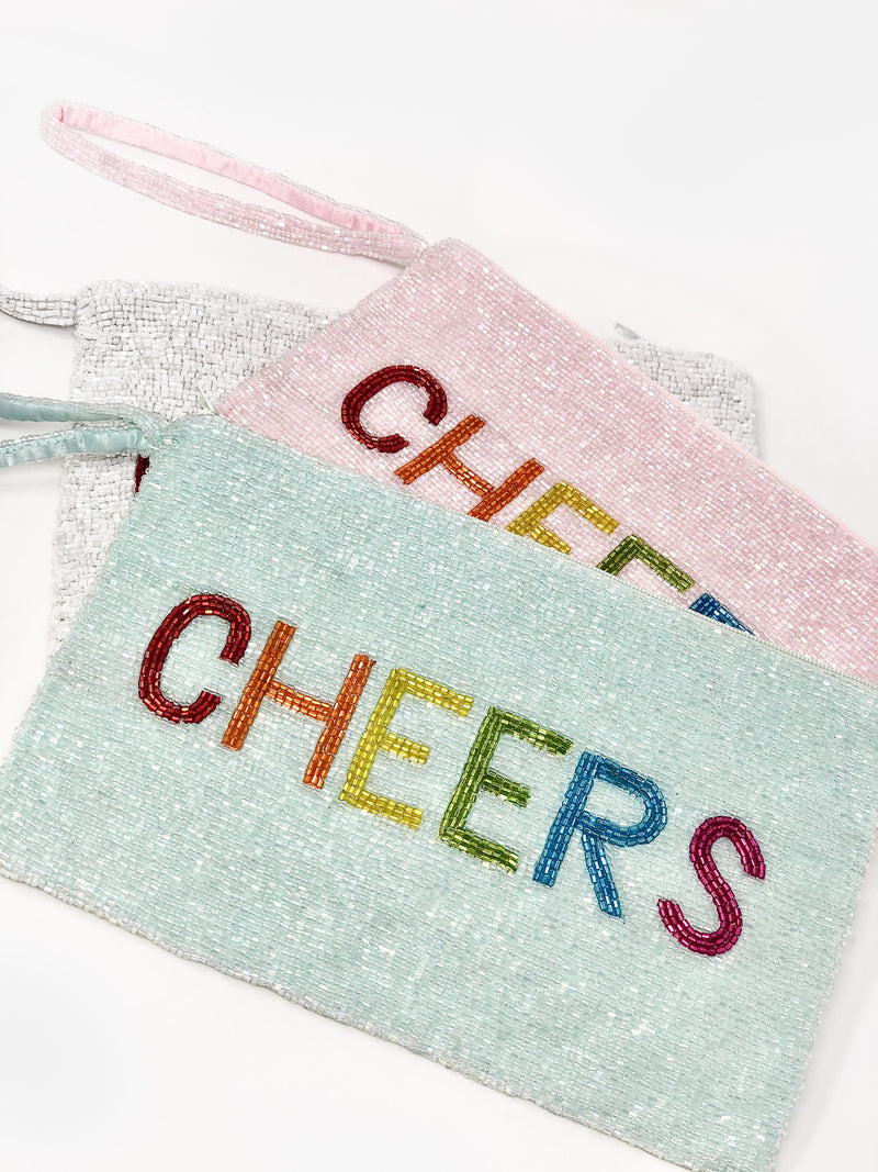 Moyna Wristlet with Rainbow Letters - CHEERS - White