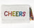 Moyna Foldover Clutch with Rainbow Letters - CHEERS - White