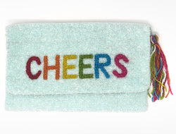 Moyna Foldover Clutch with Rainbow Letters - CHEERS - Light Blue