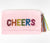 Moyna Foldover Clutch with Rainbow Letters - CHEERS - Light Pink