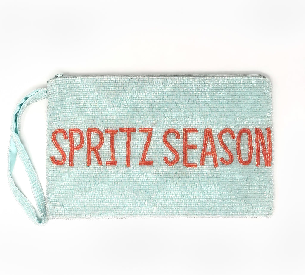"Moyna ""Spritz Season"" Wristlet - Light Blue/Orange"