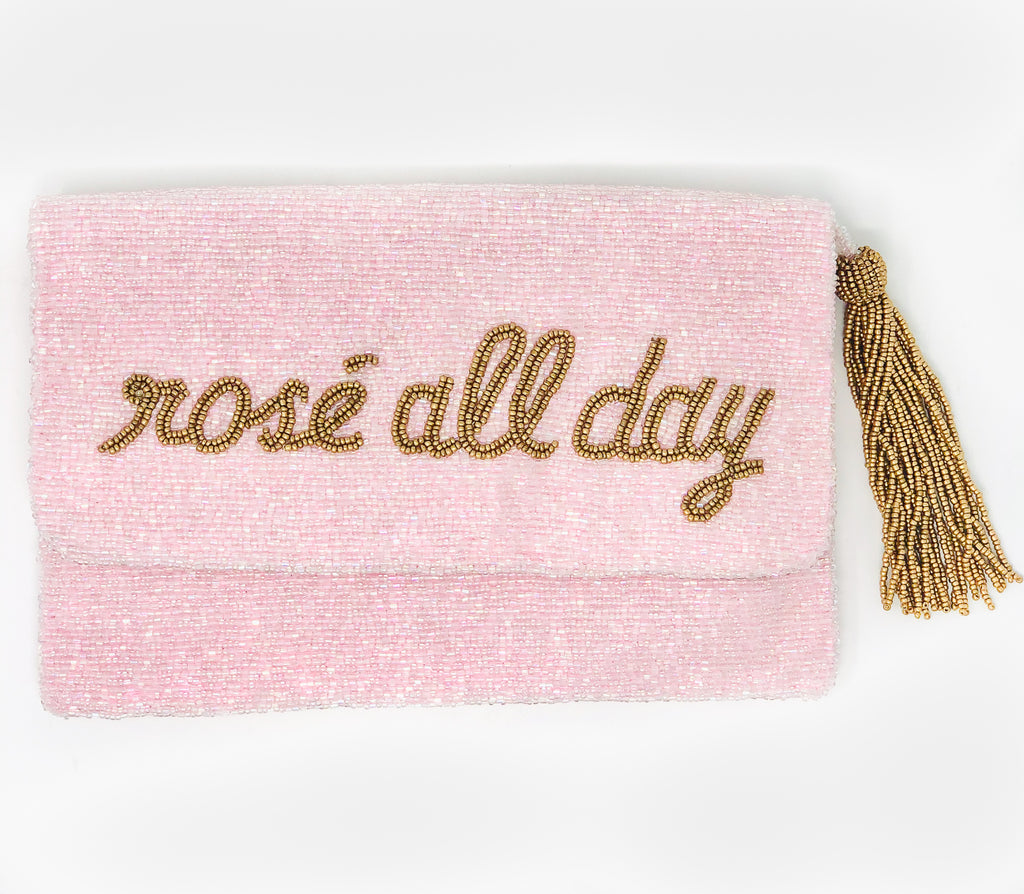 Moyna Foldover Clutch - Rosé All Day - Light Pink/Gold