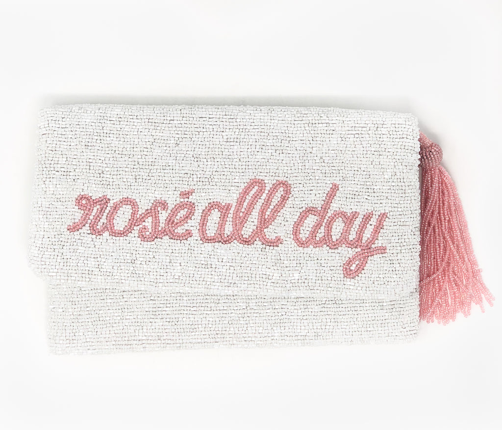 Moyna Foldover Clutch - Rosé All Day - White/Light Pink