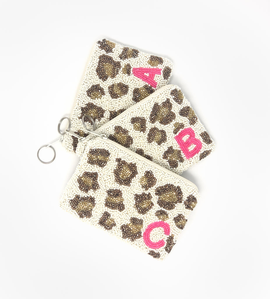 Moyna Leopard Initial Coin Purse
