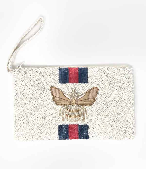 Moyna Bee Wristlet - Ivory/Navy/Red