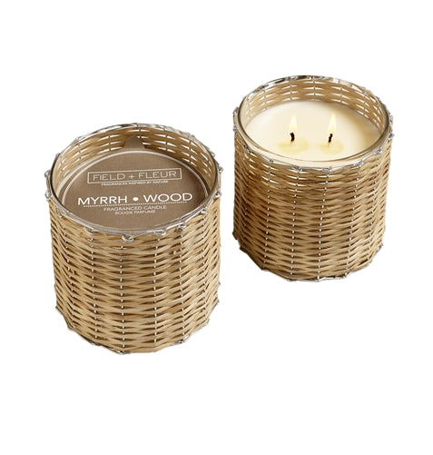 Hillhouse Natural Handwoven Candle 2-Wick, Myrrh-Wood, O/S