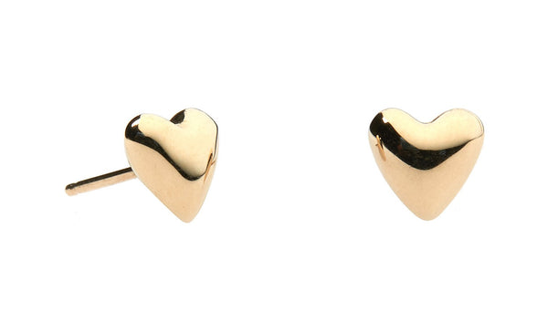 Puffed Heart Studs - 14K Yellow Gold
