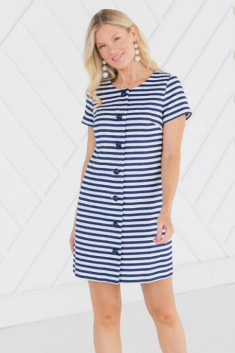 Sail to Sable Striped Button Front Dress