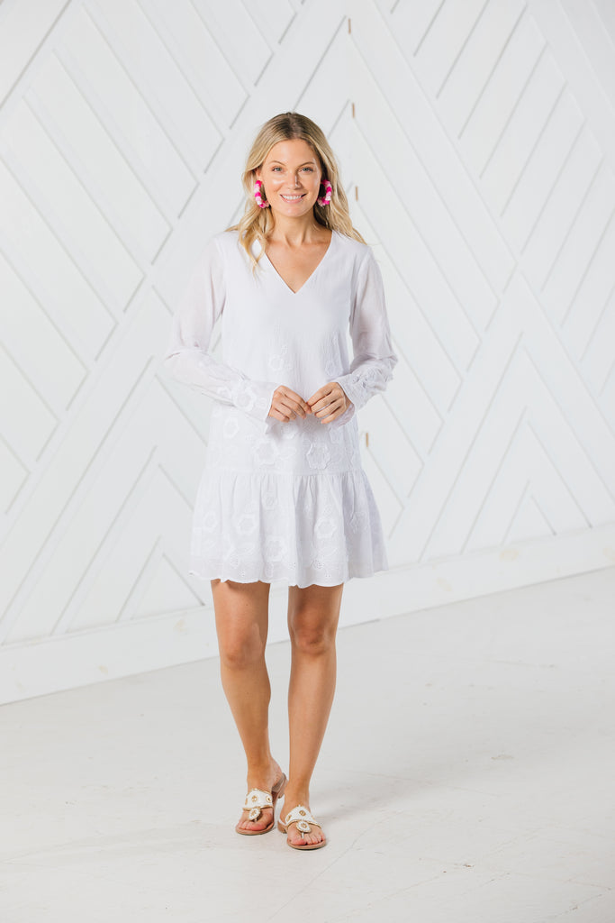 Sail to Sable Embroidered Long Sleeve Dress