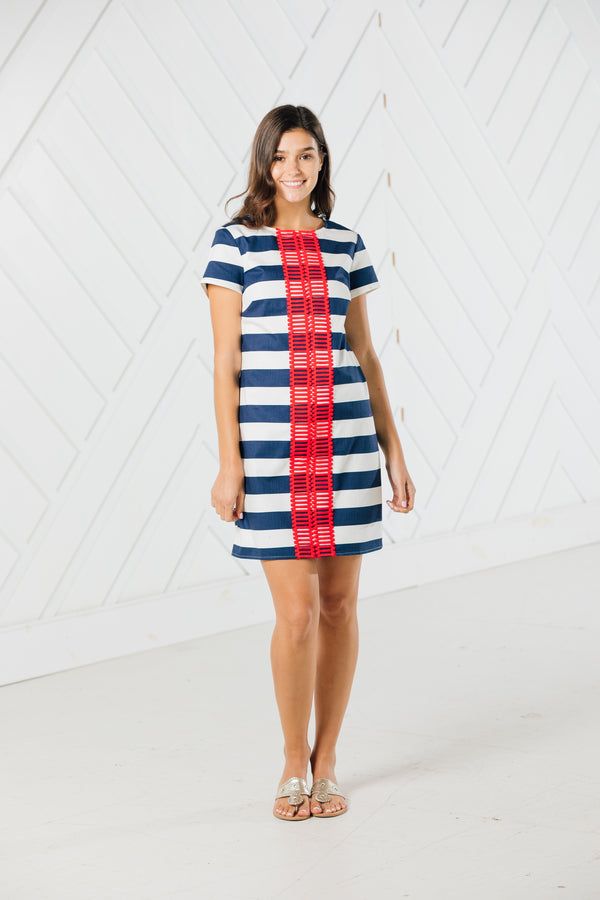 Sail to Sable Short Sleeve Striped Dress