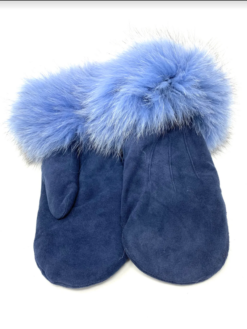 Mitchie's Suede Mittens MTHU04 - Navy - Light Blue Fox
