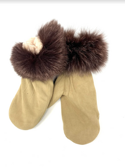 Mitchie's Suede Mittens MTHU04 - Sand - Chocolate Fox