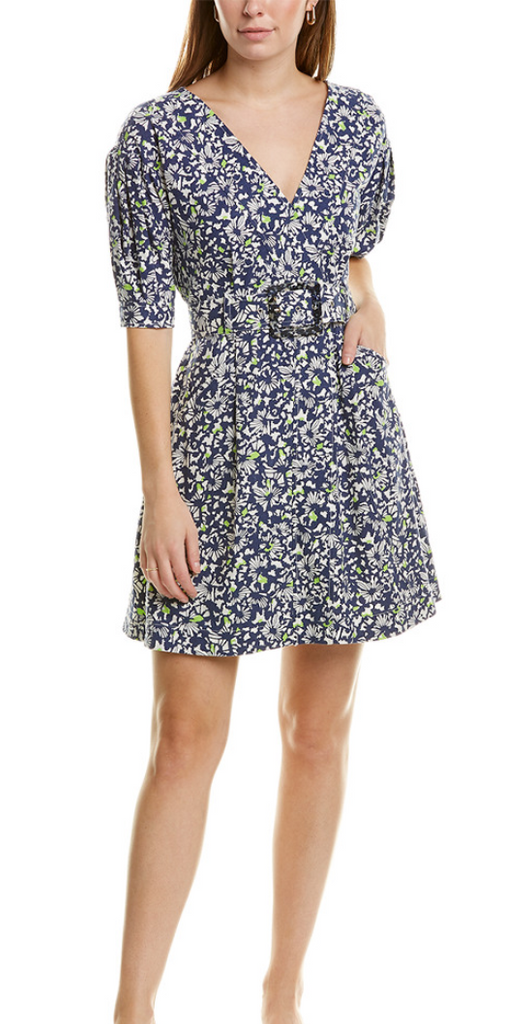 Tanya Taylor Floral Mini Dress w/ Buckle
