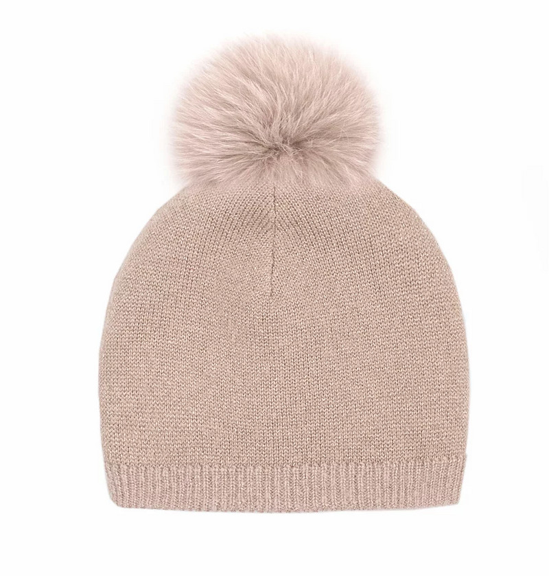 Mitchie's Dusty Pink Reversible Knitted Beanie with Clay Fox Pom HTIM07