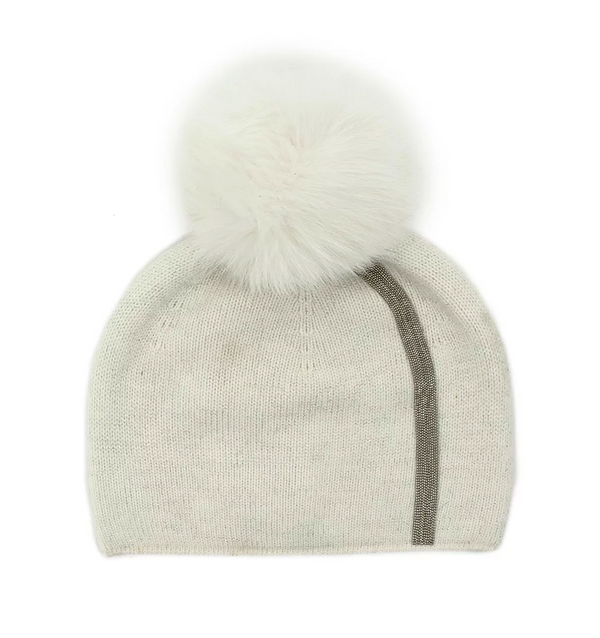 Mitchie's White Stripe Metallic Knitted Hat with Fox Pom Pom HTAN26