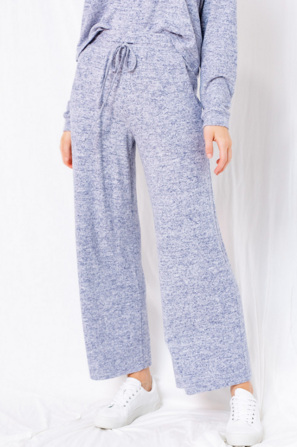 Heathered Navy Wide Leg Lounge Pants